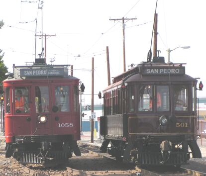 LA San Pedro Red Cars passing