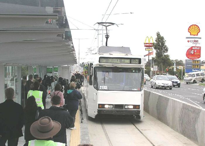 Melbourne LRT tram entering station