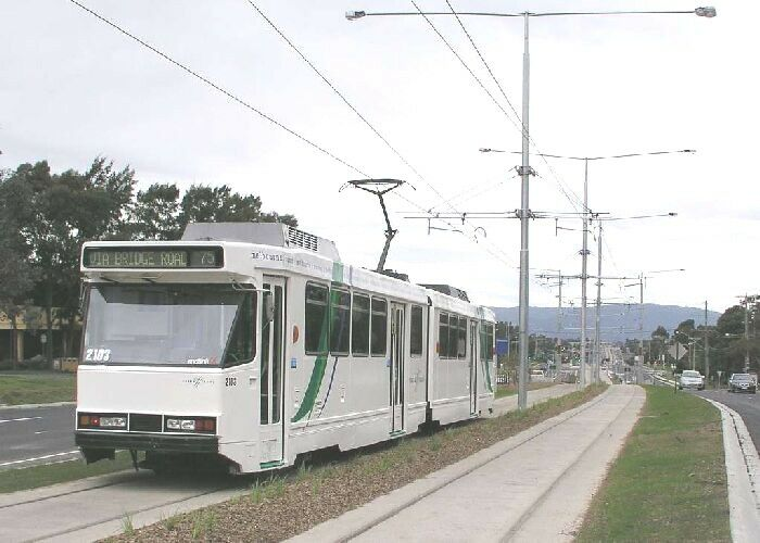 Melbourne LRT tram in median