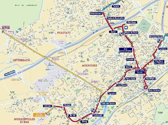 Mulhouse Light Rail Tramway map