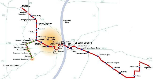 St. Louis LRT map