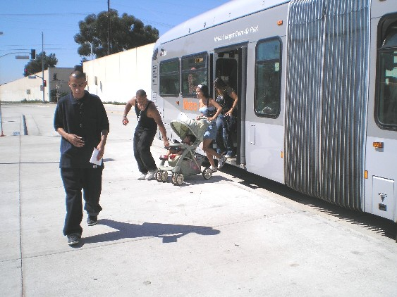 los angeles orange line busway north hollywood deboarding