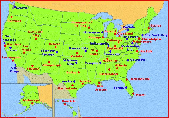 Map Of American States With Names And Cities State - Usa world map and cities