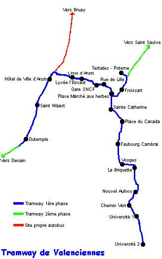 Valenciennes LRT map